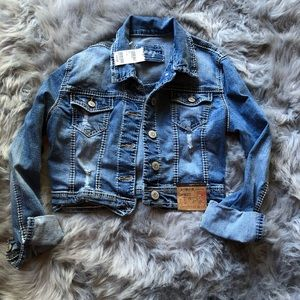 NWT Tilly's Cropped Distressed Jean Jacket